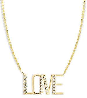 Lana Diamond & 14K Yellow Gold Love Pendant Necklace