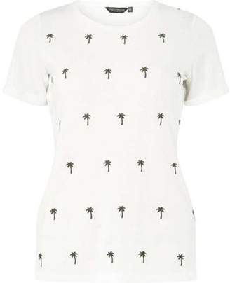 Dorothy Perkins Womens Ivory Palm Embroidered T-Shirt