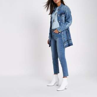River Island Womens Mid blue distressed released hem denim jacket