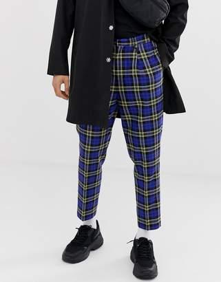 Asos Design DESIGN tapered crop smart trousers in blue tartan