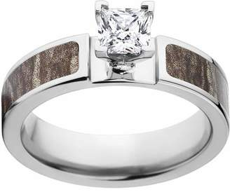 Mossy Oak Bottomland Camo 1 Carat T.G.W. Princess CZ in 14kt White Gold Prong Setting Cobalt Engagement Ring with Polished Edges and Deluxe Comfort Fit