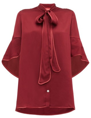F.R.S For Restless Sleepers F.R.S – For Restless Sleepers Diana Pussy Bow Hammered Satin Blouse - Womens - Burgundy