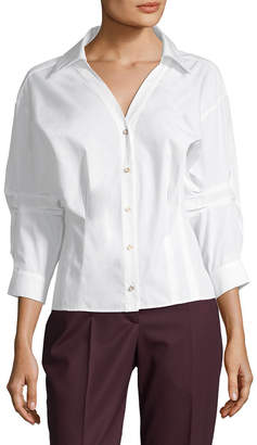 Oscar de la Renta Dropped-Shoulder Blouse