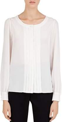 Gerard Darel Lacey Pleated Silk Blouse