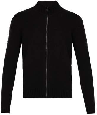 Belstaff Renhold Wool Blend Zip Through Sweater - Mens - Black
