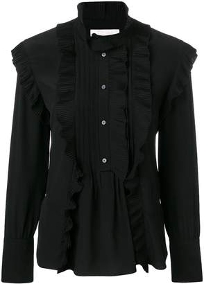 Chloé pleated trim high neck blouse
