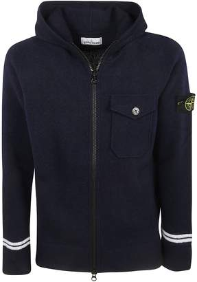 Stone Island Front Buttoned Pocket Zipped Hoodie