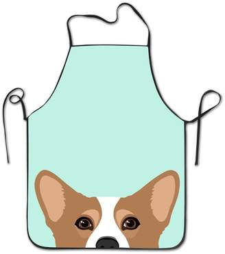 Corgi KITC APRONS KITC Cute Dog Art Print White Funny Unisex BBQ Apron With Border