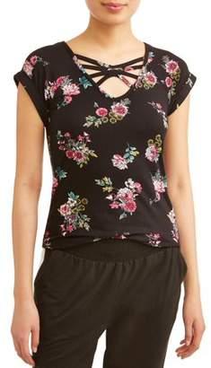 No Boundaries Juniors' Floral Printed Caged V-Neck Crochet Lace Back T-Shirt