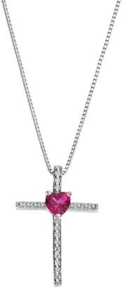 Sterling Silver Lab-Created Ruby Cross Pendant Necklace