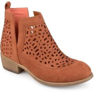 Brinley Co. Women's Faux Suede Geometric Laser Cut Side Split Stacked Wood Heel Booties