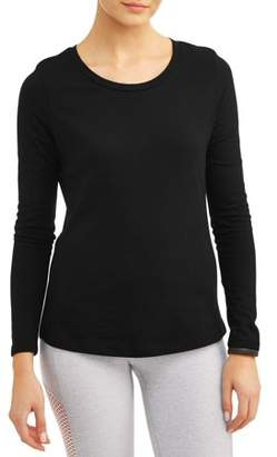 Athletic Works Women's Core Active Crewneck Long Sleeve Side Slit T-Shirt