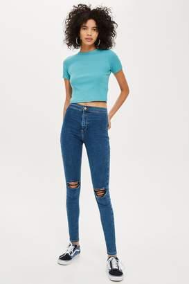 Topshop Womens Mid Blue Ripped Joni Jeans - Mid Stone