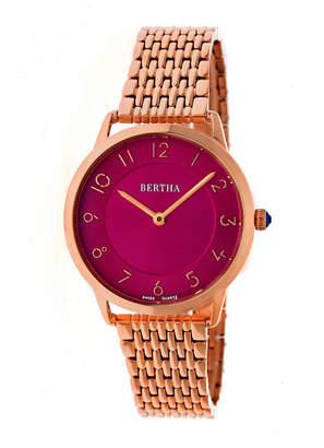 BERTHA Bertha Abby Womens Silver Tone Bracelet Watch-Bthbr6804