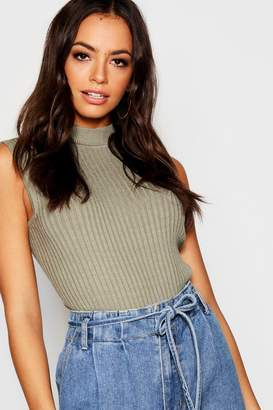 boohoo Sleeveless Turtle Neck Knitted Rib Top