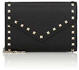 Valentino Women's Rockstud Leather Chain Wallet - Black
