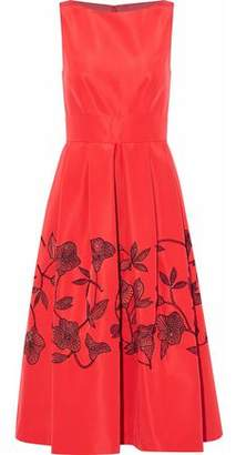 Lela Rose Sequin-Embellished Pleated Silk-Satin Midi Dress