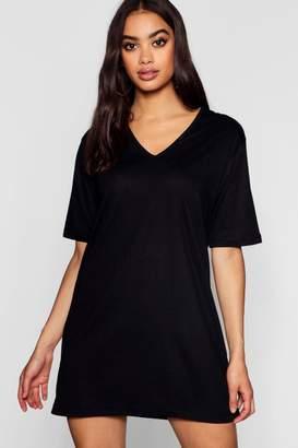 boohoo Cotton Oversized V-Neck T-Shirt Dress