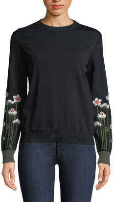 RED Valentino Floral-Embroidered Sweatshirt