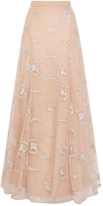 Burberry Embroidered Tulle Maxi Skirt