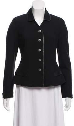 Christian Dior Leather-Trimmed Wool Blazer
