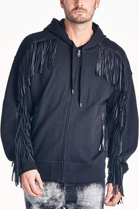 Cult of Individuality Leather Fringe Zip Hoodie