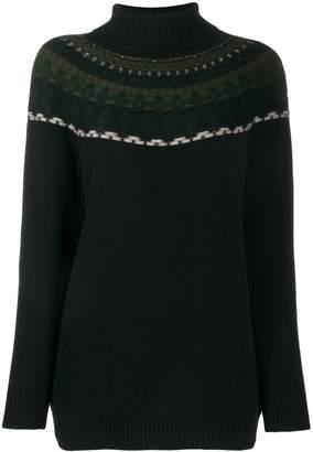 Lamberto Losani patterned knit roll neck jumper