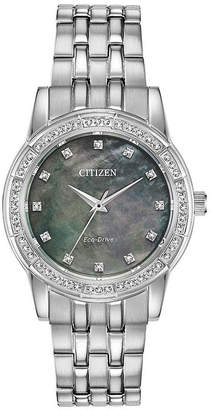 Citizen Silhouette Crystal Womens Crystal Accent Silver Tone Stainless Steel Bracelet Watch-Em0770-52y