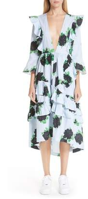 Ganni Floral & Gingham Plunge Neck Dress
