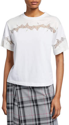 3.1 Phillip Lim Crewneck Short-Sleeve Lace-Inset T-Shirt
