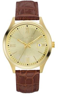 Bulova CARAVELLE Designed by Caravelle Men's Brown Leather Strap Gold-Tone Stainless Steel Dress Watch 41mm