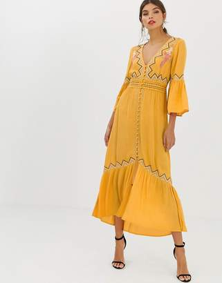 Asos Design DESIGN lace insert maxi dress with embroidery