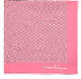 Salvatore Ferragamo Men's Gancio-Print Silk Twill Pocket Square-Pink