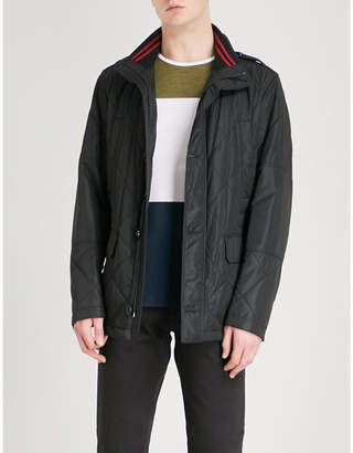 BOSS Funnel-collar quilted cotton-blend coat
