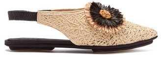 Sanayi 313 - Salerno Floral Applique Raffia Slingback Flats - Womens - Black Cream