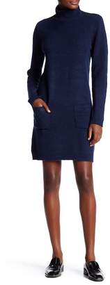 Max Studio Turtleneck Long Sleeve Patch Pocket Sweater Dress