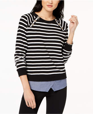Tommy Hilfiger Striped Layered-Look Sweater, Created for Macy's