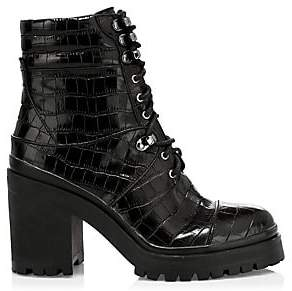 Alice + Olivia Women's Marren Croc-Print Leather Platform Combat Boots