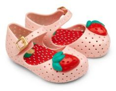 Baby's Strawberry Perforated Jelly Mary Jane Flats $58 thestylecure.com