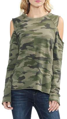 Vince Camuto Cold Shoulder Camo Sweatshirt