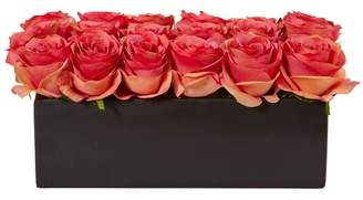 House of Hampton Silk Dozen Roses Floral Arrangement in Planter Flower