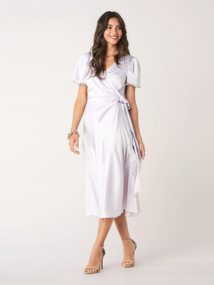 Diane von Furstenberg Valentina Satin Midi Wrap Dress