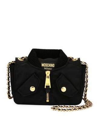 Moschino Biker Woven Chain Shoulder Bag, Black $575 thestylecure.com