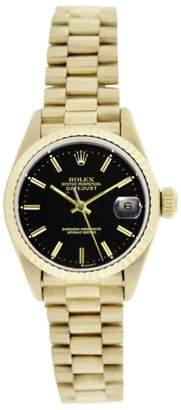 Rolex President 69178 18K Gold Black Stick Dial Fluted Bezel 26mm Womens Watch