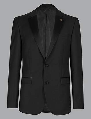 Marks and Spencer Big & Tall Black Tailored Fit Wool Jacket