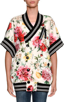 Dolce & Gabbana Short-Sleeve Floral-Print Wrap Snap-Front Bomber Jacket