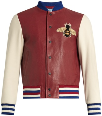 GUCCI Contrast-sleeve leather bomber jacket $3,750 thestylecure.com