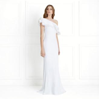 Rachel Zoe Lizette One-Shoulder Ruffled Fluid Sequin Gown