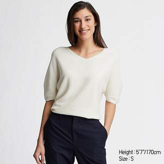 Uniqlo Women's 3d Cotton Dolman Half Sleeve Sweater