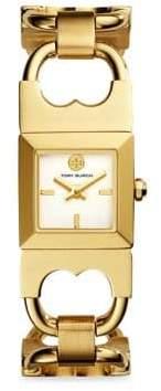 Tory Burch Double T Link Quartz Stainless Steel Bracelet Watch
